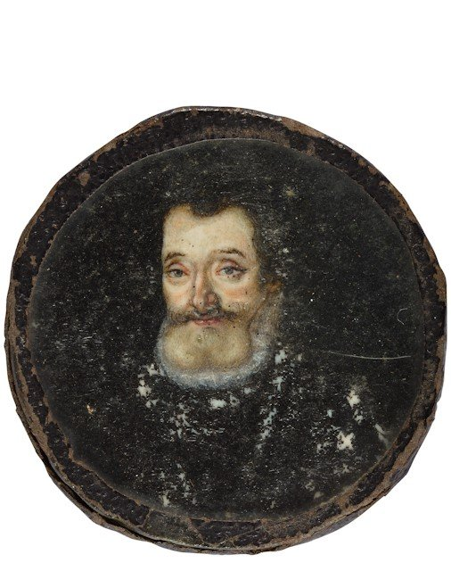 1: Henri IV, roi de France. Miniature ronde sur ivoire,