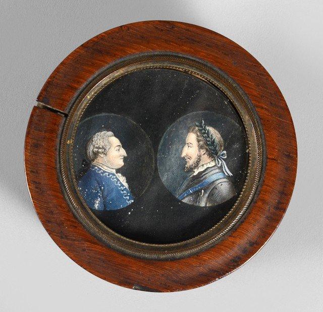 2: Henri IV et Louis XVI, rois de France. Boite ronde e