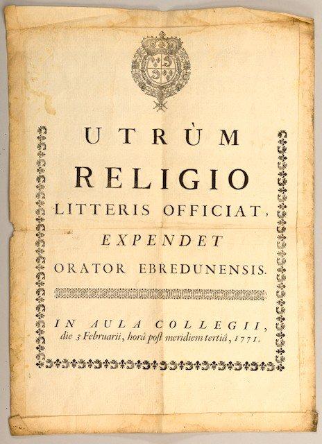4: Publication officielle imprimée. Texte en latin surm
