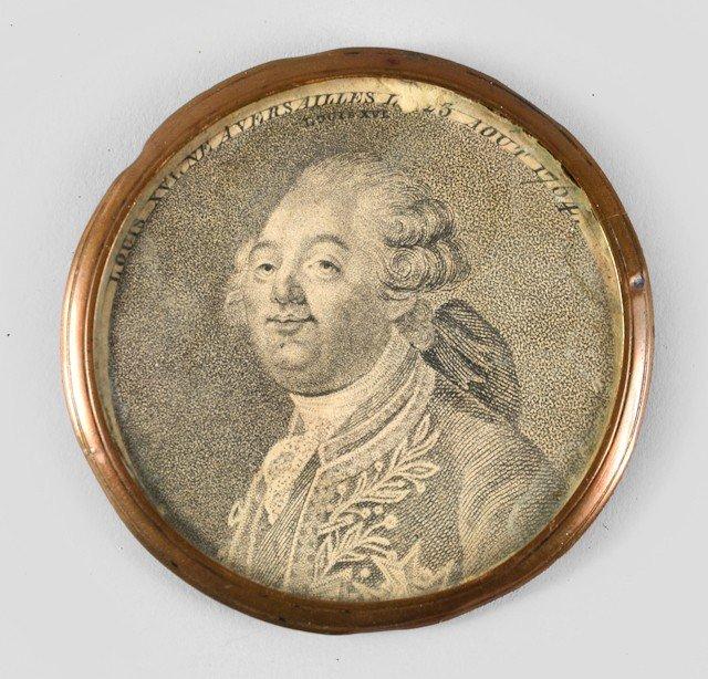 21: Louis XVI, roi de France. Médaillon rond, renferman