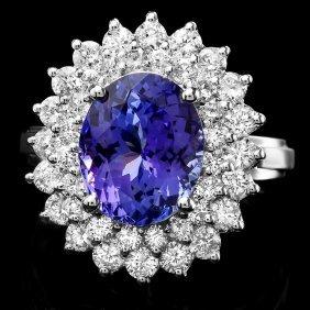14k Gold 3.77ct Tanzanite 1.58ct Diamond Ring
