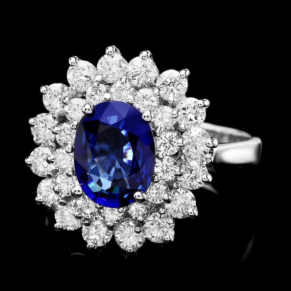 14k Gold 1.68ct Sapphire 1.59ct Diamond Ring