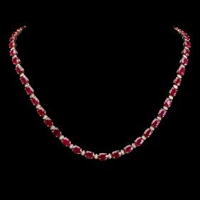 14k Gold 35.67ct Ruby 1.49ct Diamond Necklace