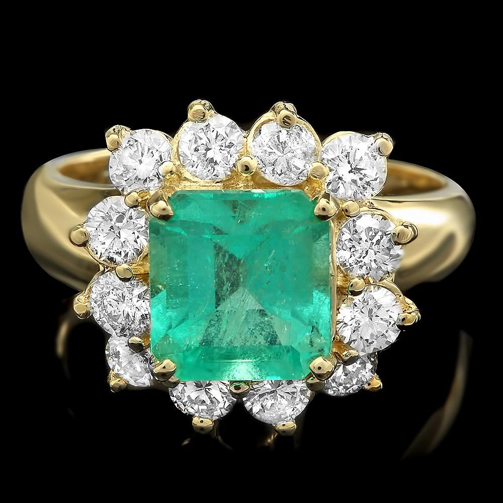 14k Gold 2.50ct Emerald 1.36ct Diamond Ring