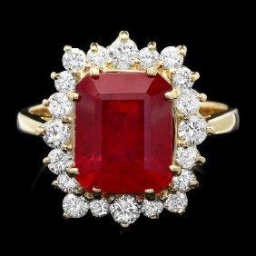 14k Yellow Gold 5.90ct Ruby 0.80ct Diamond Ring