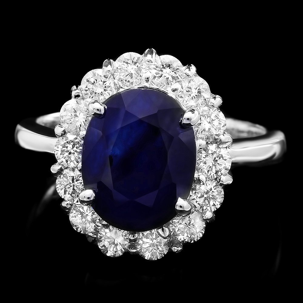 14k Gold 4ct Sapphire 1ct Diamond Ring