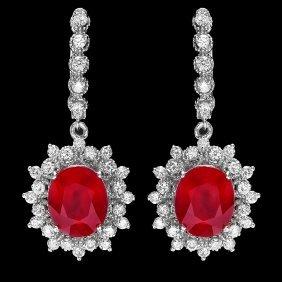 14k Gold 11.30ct Ruby 1.80ct Diamond Earrings