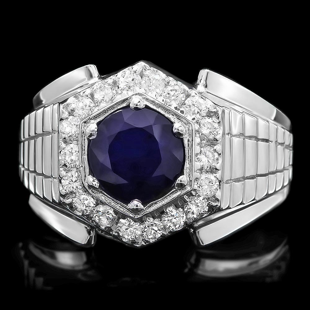 14k Gold 2ct Sapphire 0.60ct Diamond Mens Ring