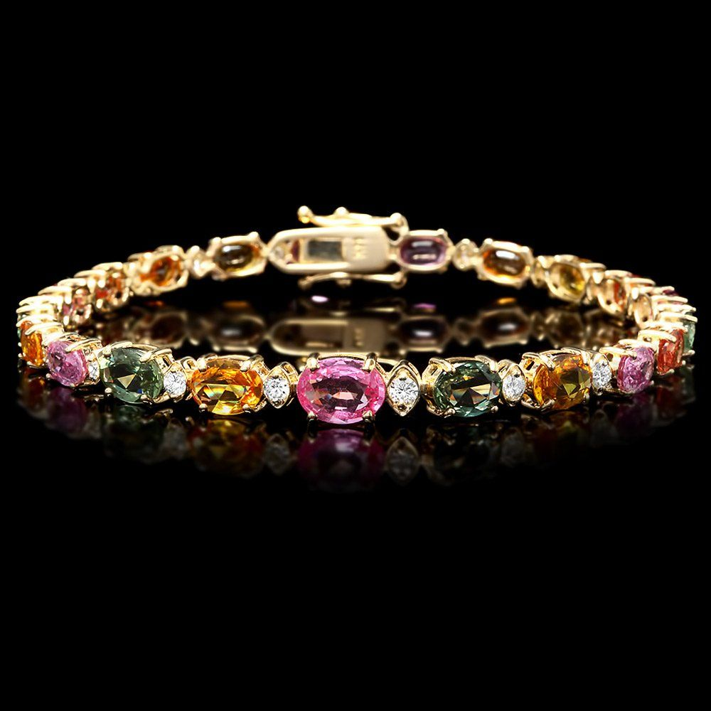 14k Gold 13ct Sapphire 0.80ct Diamond Bracelet