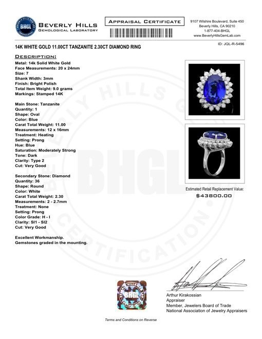 14k Gold 11ct Tanzanite 2.30ct Diamond Ring - 5