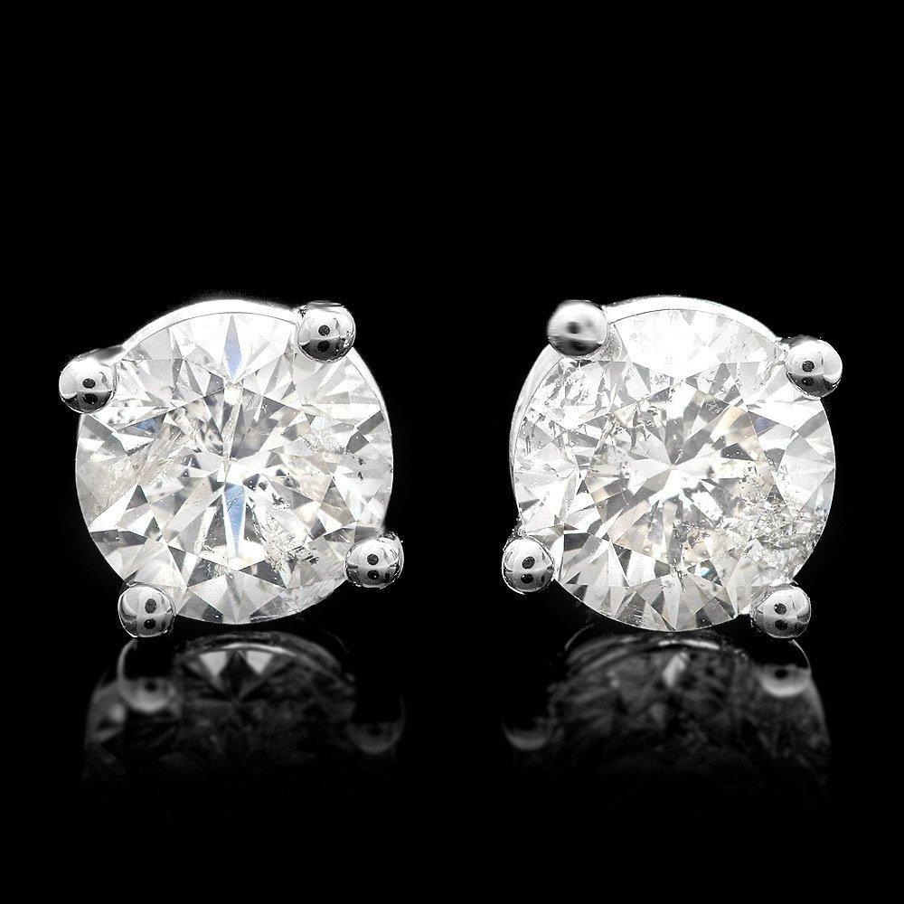 14k White Gold 1.70ct Diamond Stud Earrings