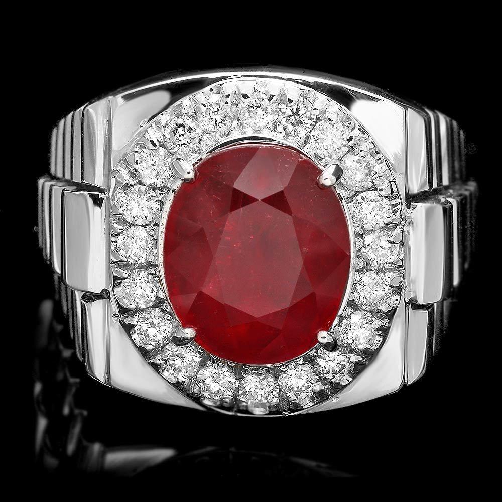 14k Gold 7ct Ruby 0.90ct Diamond Mens Ring
