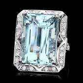 14k Gold 24ct Aquamarine 1ct Diamond Ring