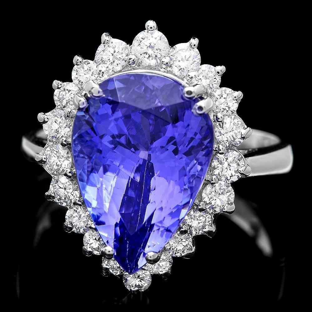 18k Gold 6ct Tanzanite 0.80ct Diamond Ring
