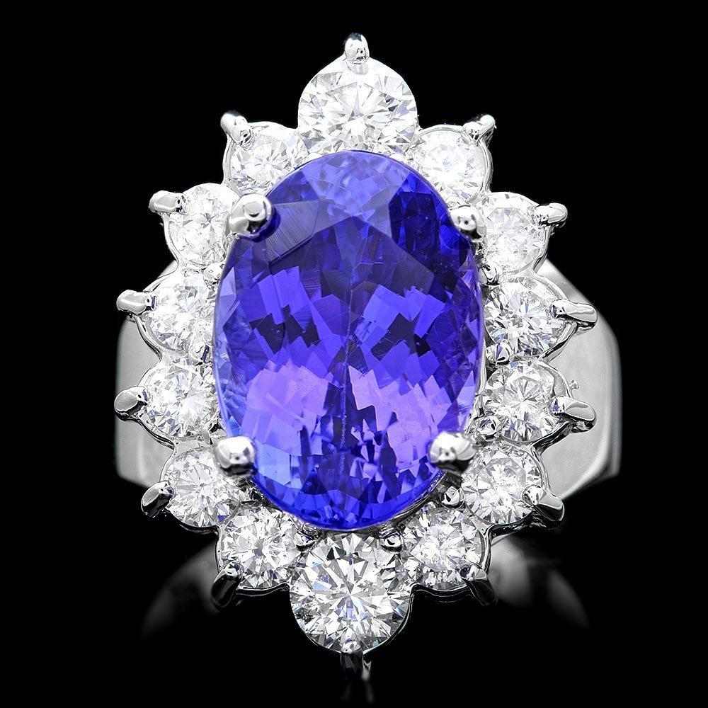 14k Gold 8.50ct Tanzanite 2ct Diamond Ring