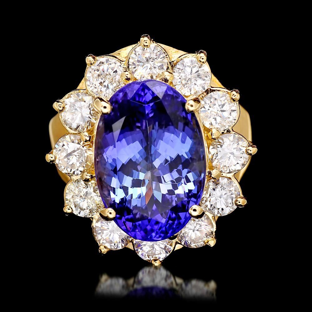 14k Gold 7.40ct Tanzanite 2.20ct Diamond Ring
