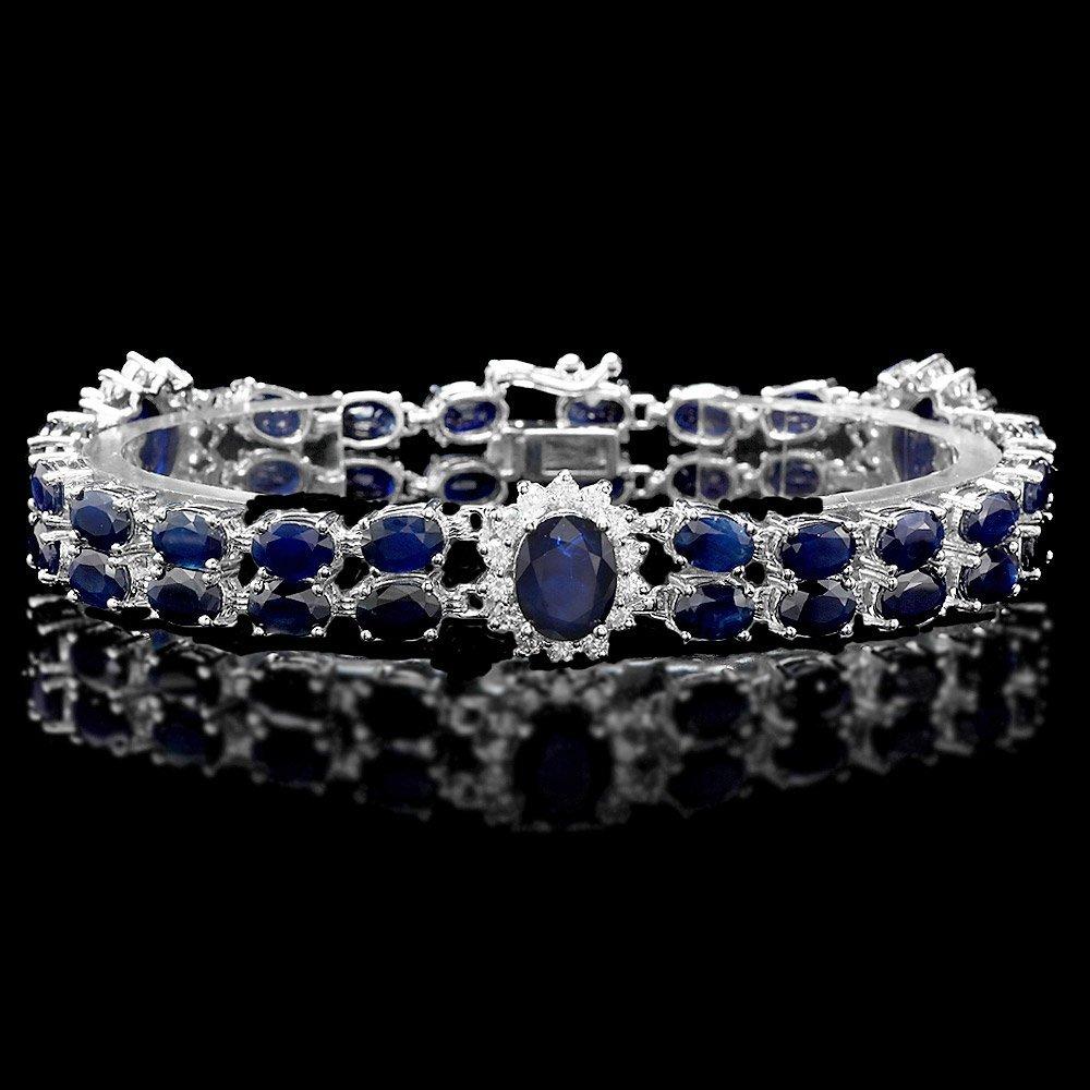 14k Gold 29ct Sapphire 1.75ct Diamond Bracelet
