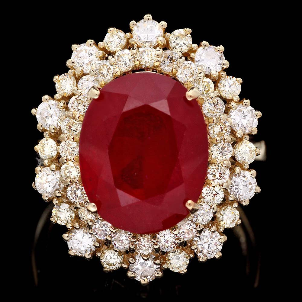 14k Yellow Gold 7.70ct Ruby 1.50ct Diamond Ring
