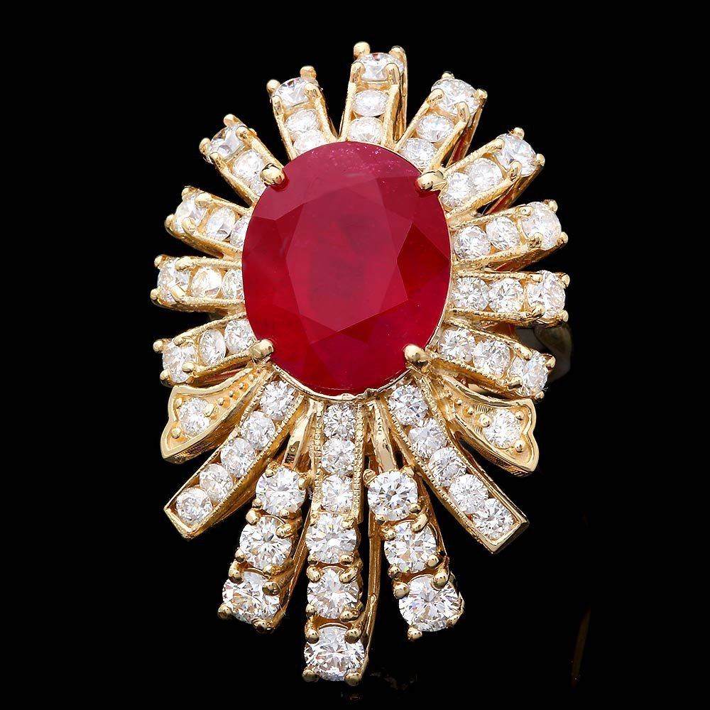 14k Yellow Gold 8.50ct Ruby 2.75ct Diamond Ring