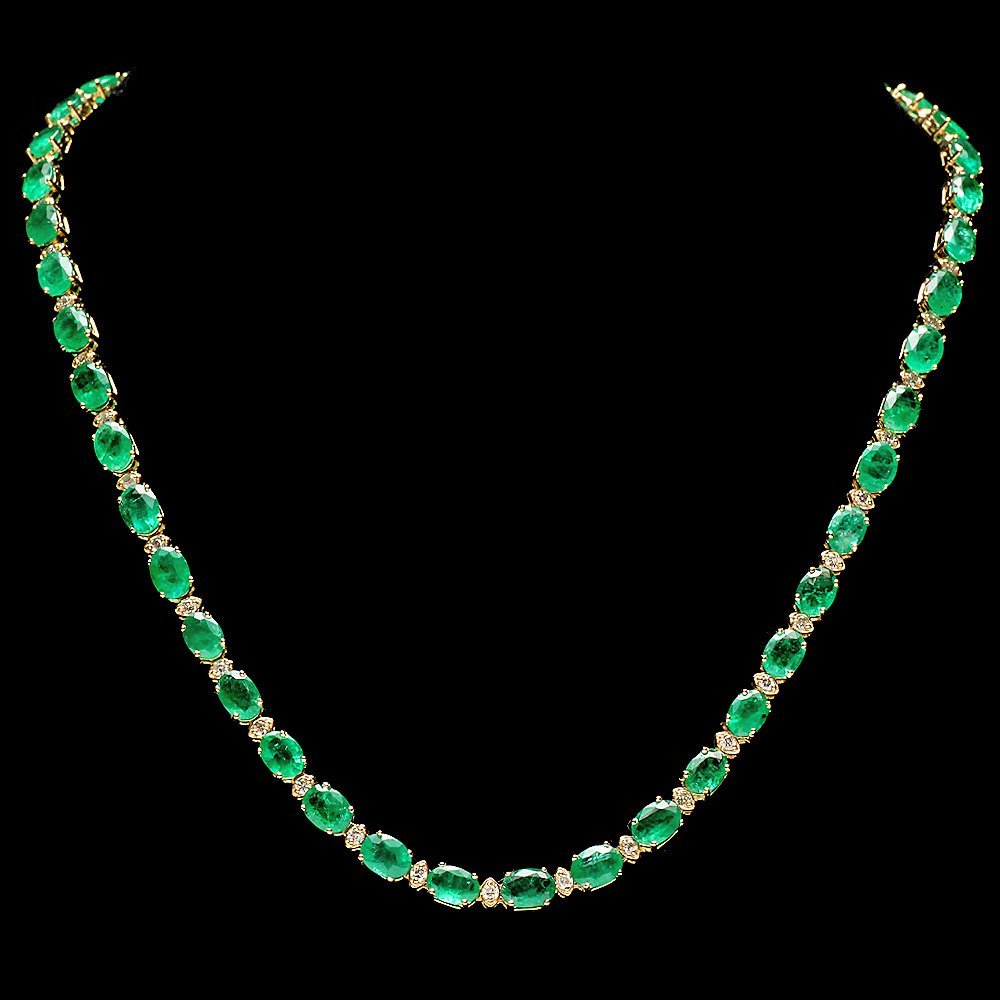 14k Gold 32ct Emerald 1.75ct Diamond Necklace