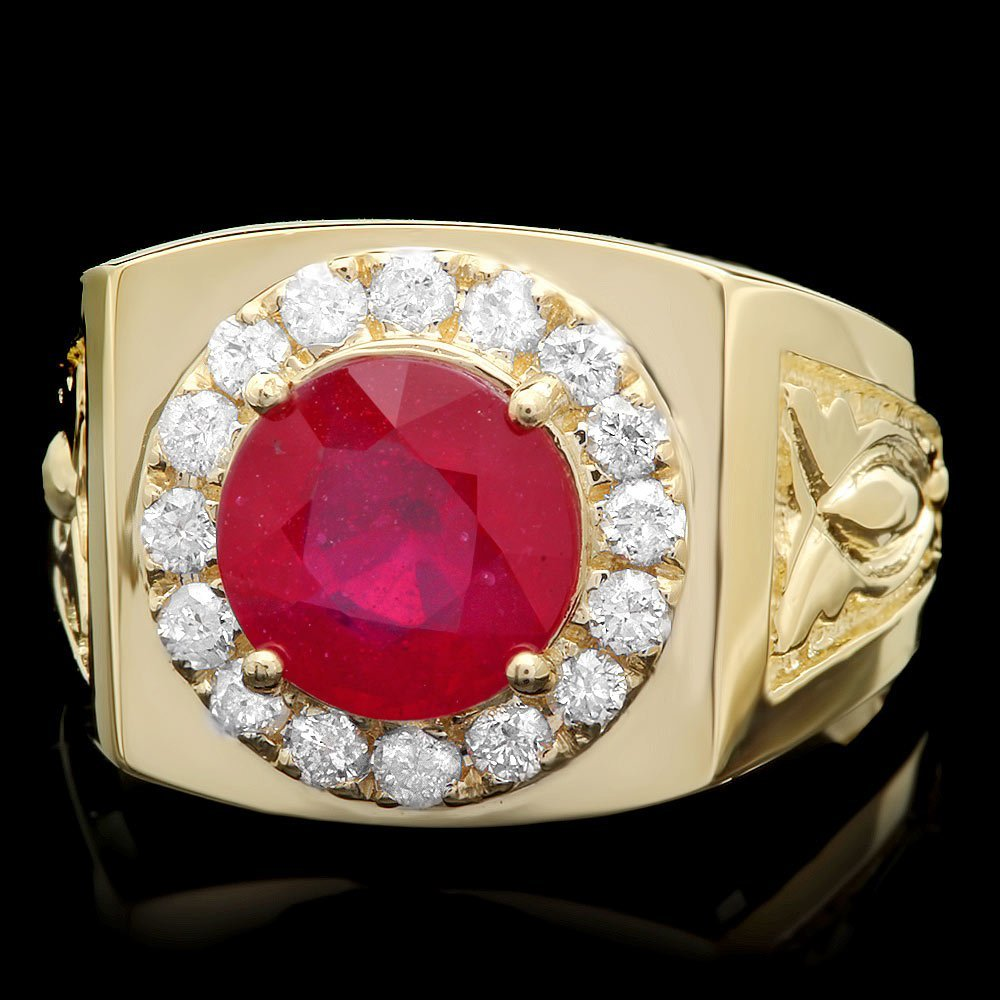 14k Gold 4ct Ruby 0.70ct Diamond Mens Ring