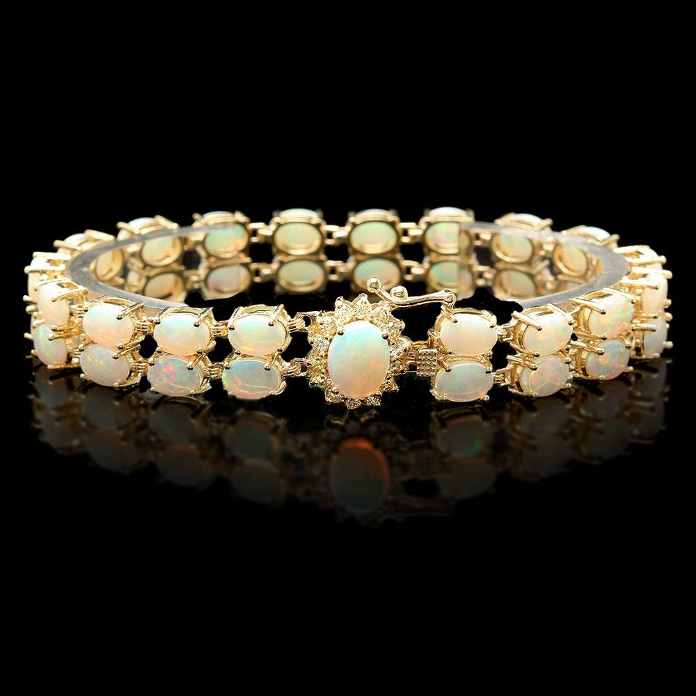 14k Gold 14.1ct Opal 0.50ct Diamond Bracelet