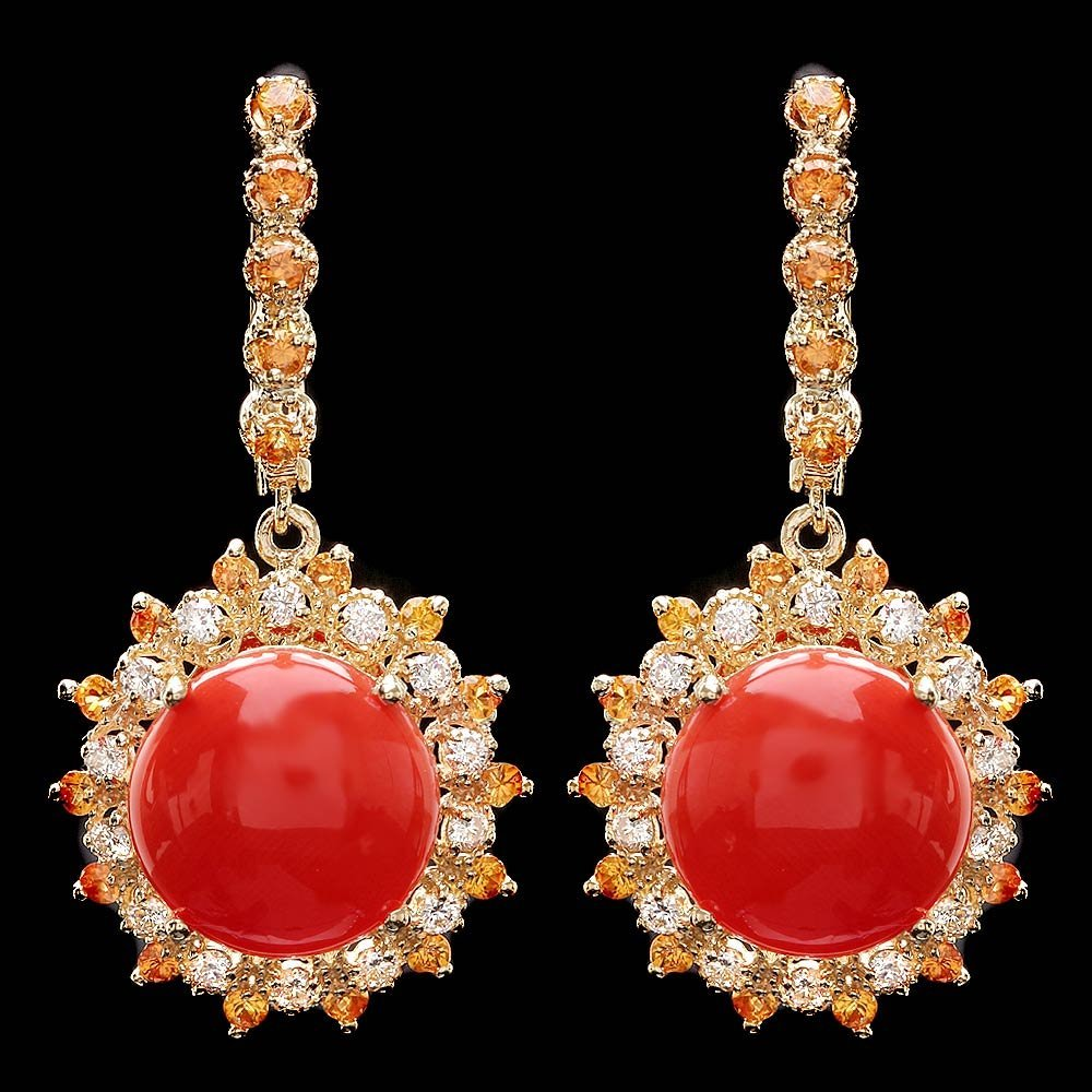 14k Yellow Gold 11ct Coral .77ct Diamond Earrings