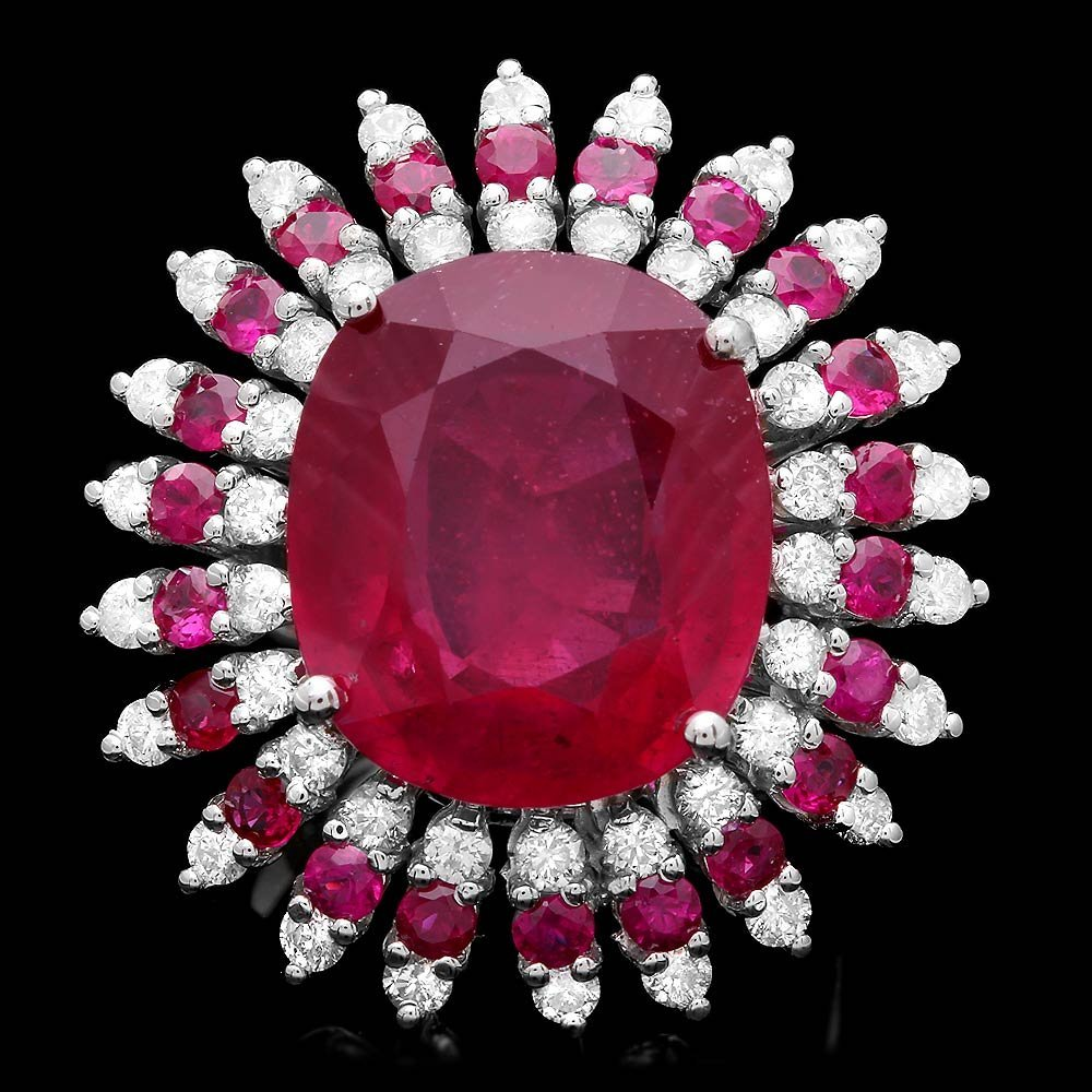 14k White Gold 16.6ct Ruby 1.60ct Diamond Ring