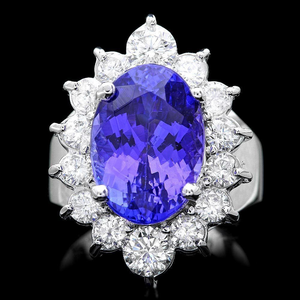 14k Gold 8.50ct Tanzanite 2ct Diamond Ring
