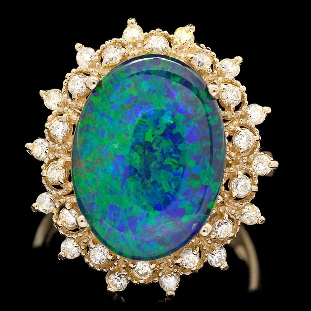 14k Yellow Gold 5.00ct Opal 0.50ct Diamond Ring