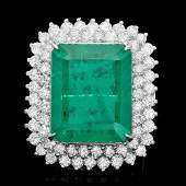 18k Gold 22.50ct Emerald 3.20ct Diamond Ring