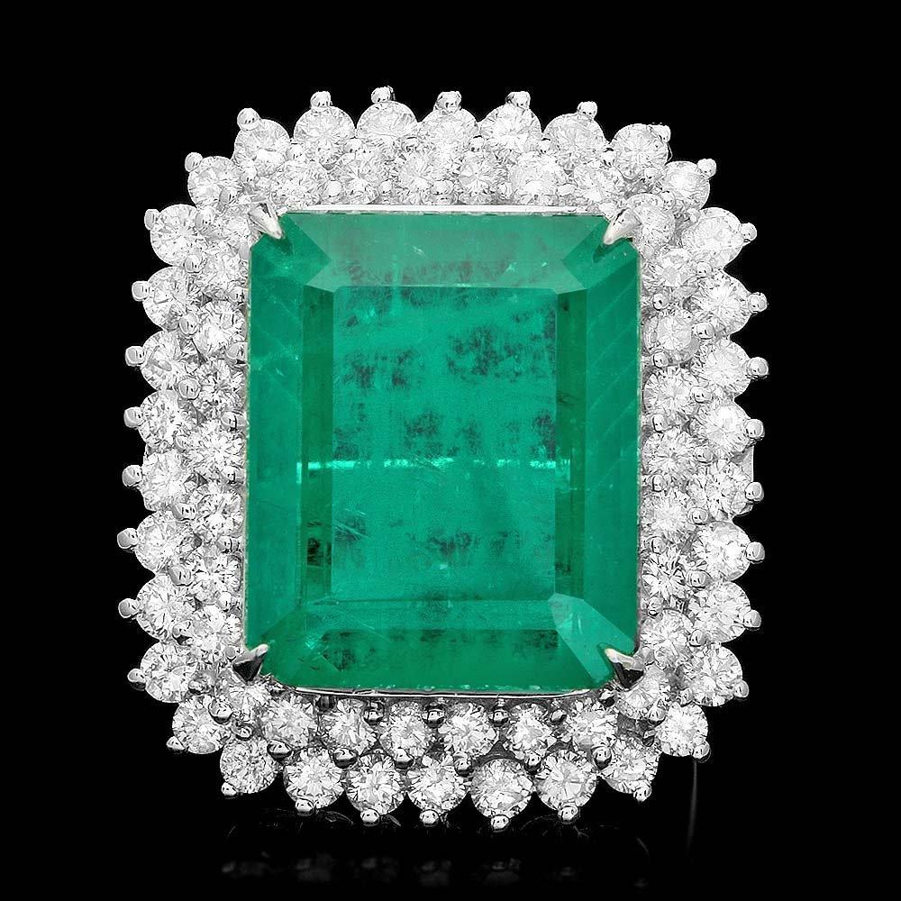 18k Gold 22.50ct Emerald 3.20ct Diamond Ring