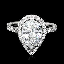 Platinum 3.06ctw Natural F VS Diamond Pave Ring