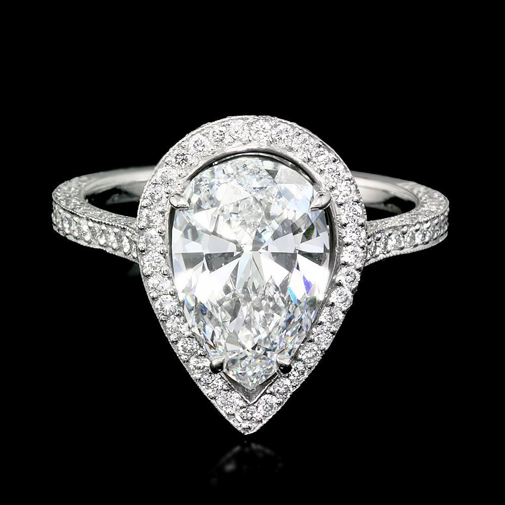 Platinum 3.06ctw Natural F VS Diamond Pave Ring