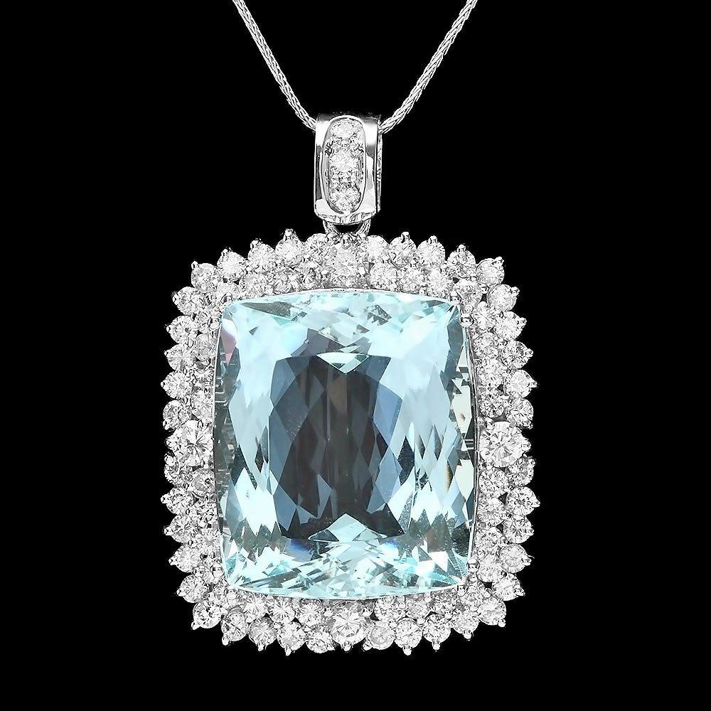 14k Gold 38ct Aquamarine 3.55ct Diamond Pendant