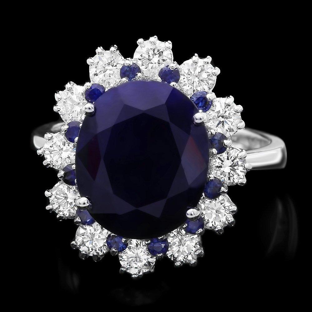 14k White Gold 6.3ct Sapphire 1.10ct Diamond Ring