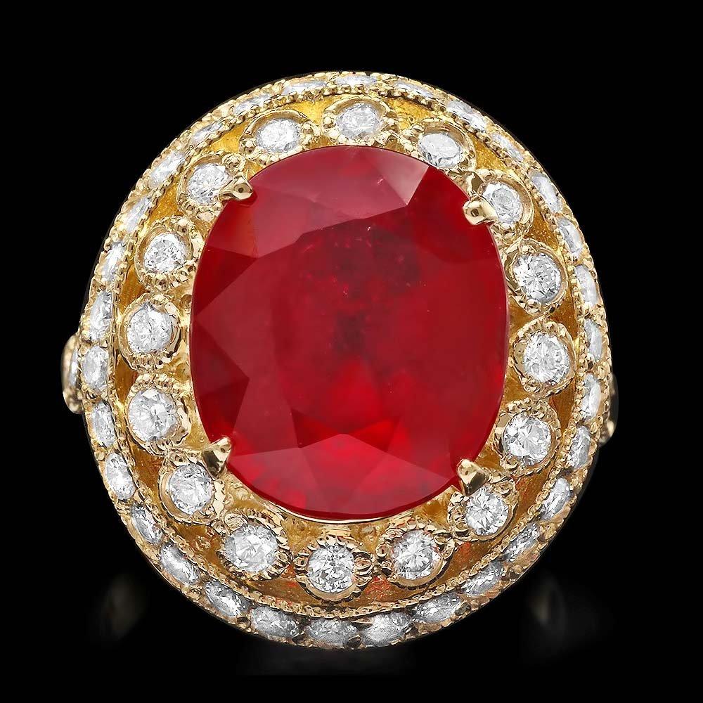 14k Yellow Gold 8.00ct Ruby 1.50ct Diamond Ring