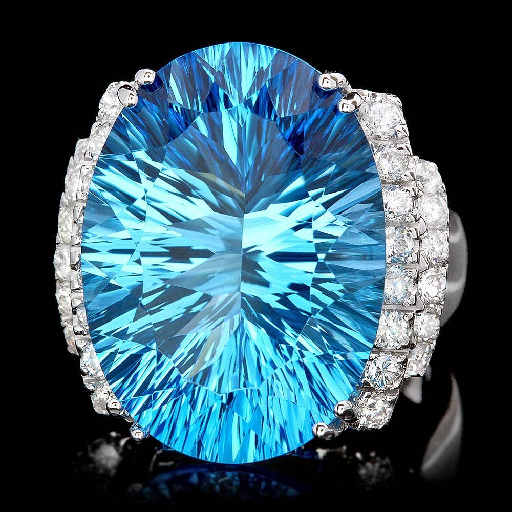 14k White Gold 20.00ct Topaz 0.85ct Diamond Ring
