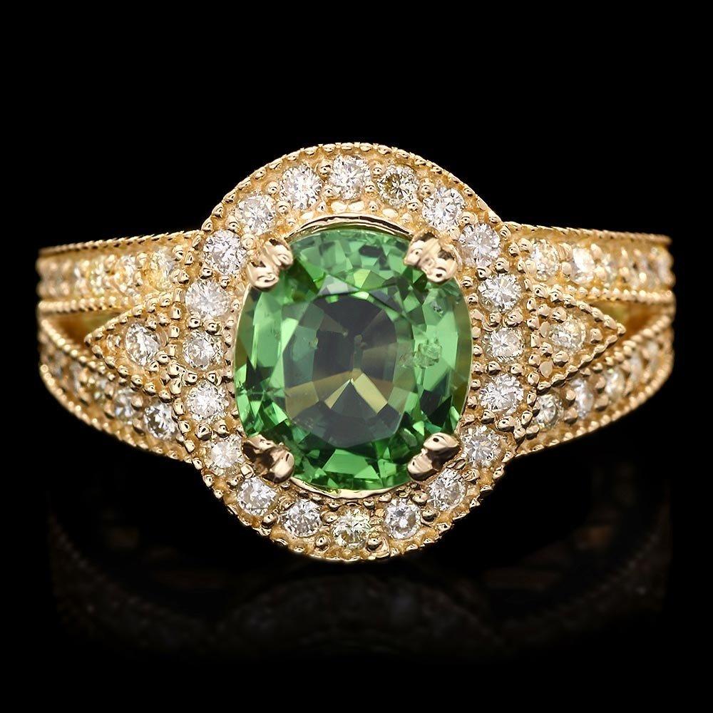 14k Gold 2.45ct Tourmaline 0.75ct Diamond Ring