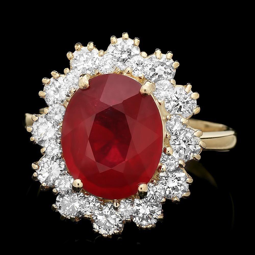 14k Yellow Gold 3.50ct Ruby 1.40ct Diamond Ring