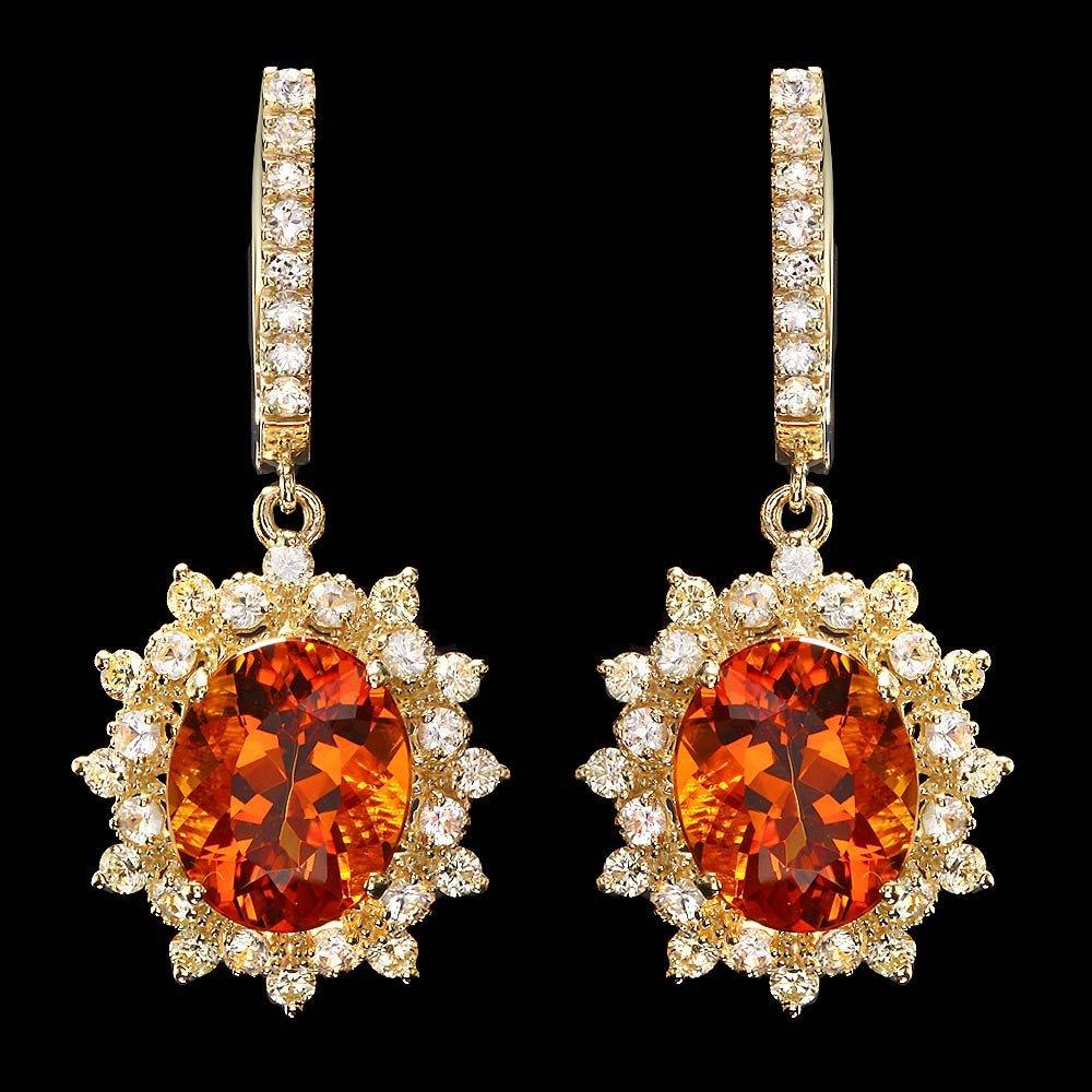 14k Gold 8.50ct Citrine 2.25ct Diamond Earrings