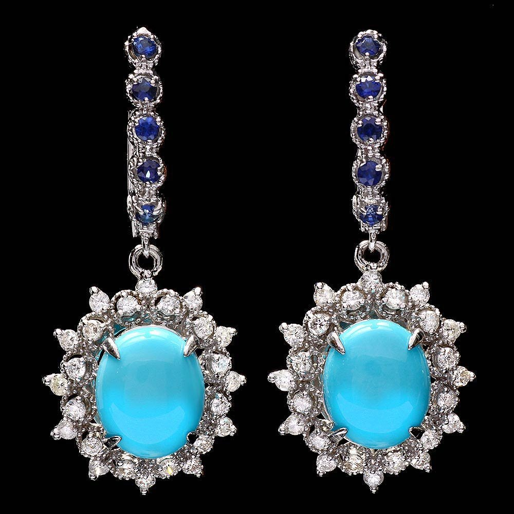 14k Gold 6ct Turquoise 1.10ct Diamond Earrings