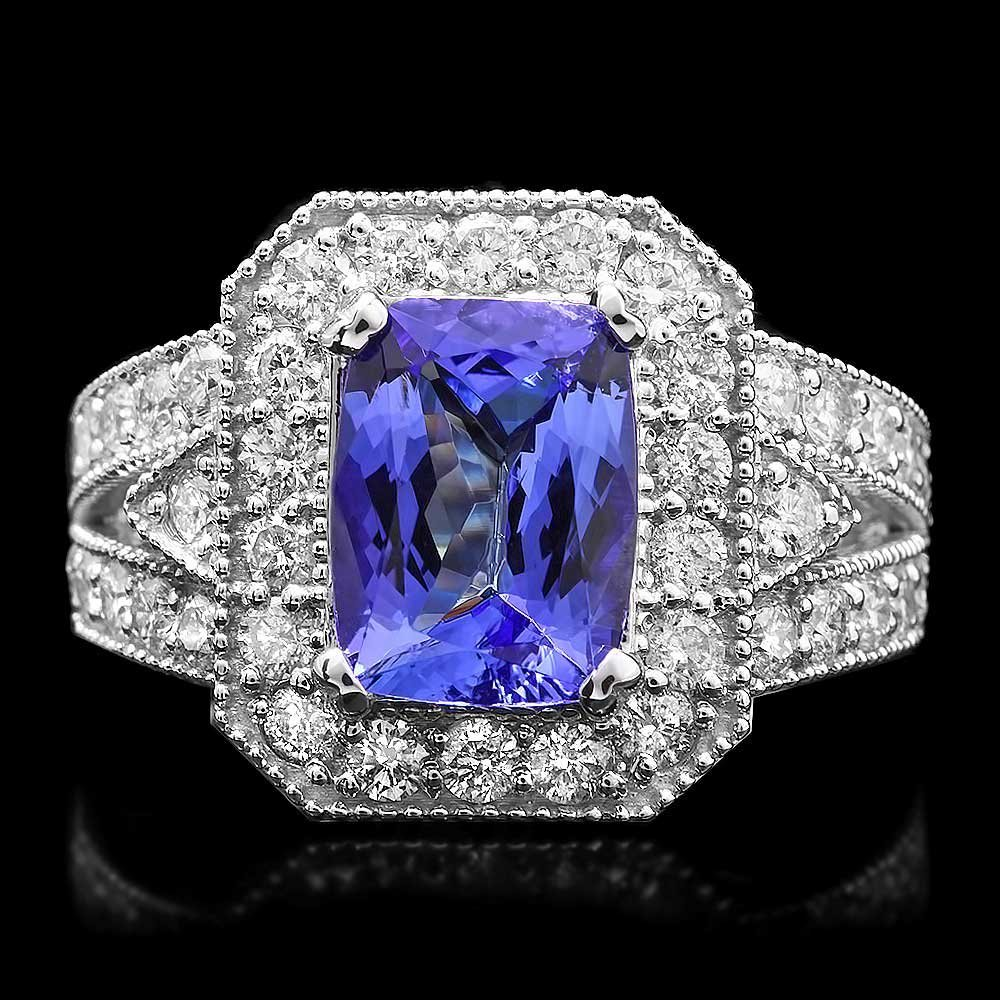 14k Gold 3ct Tanzanite 1.50ct Diamond Ring