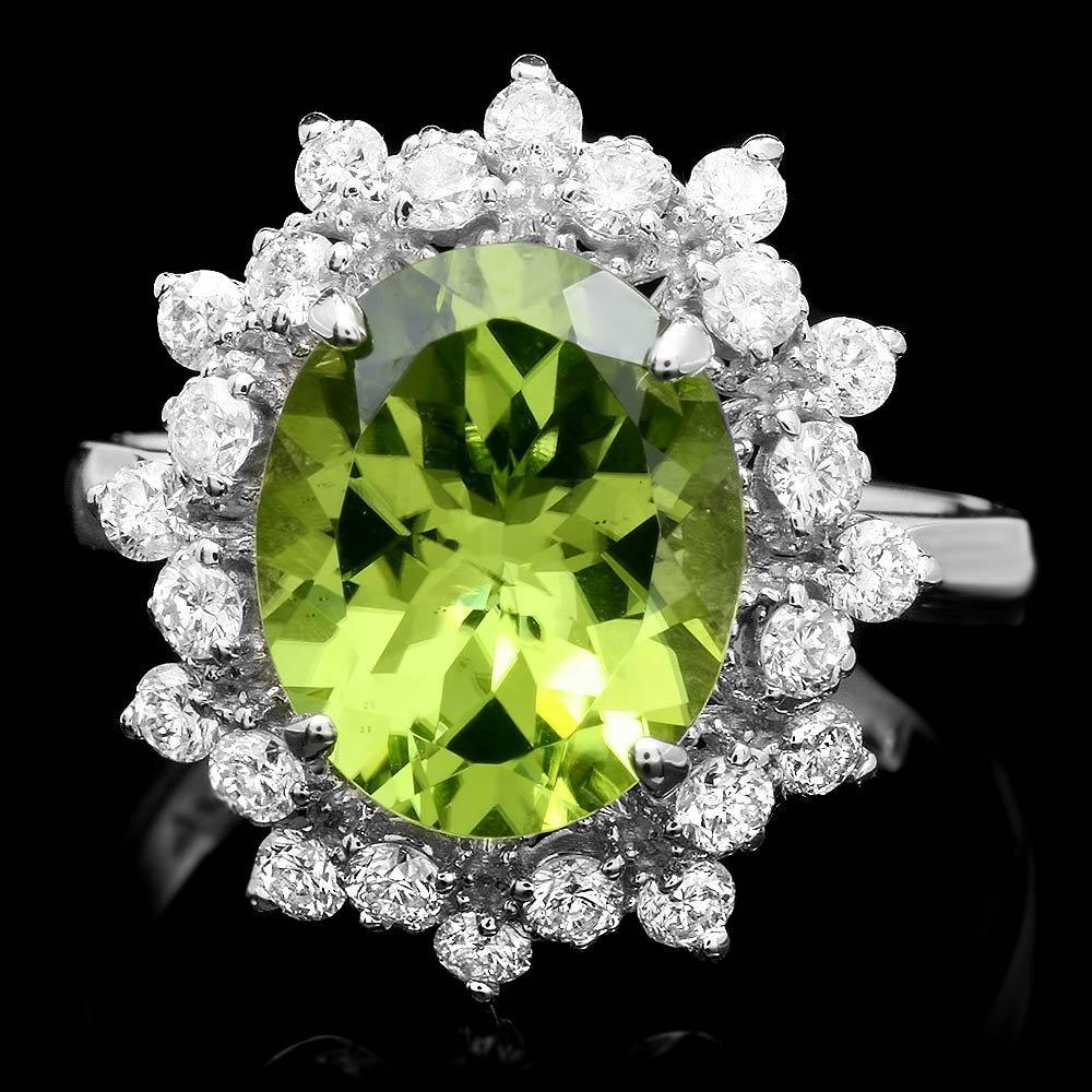 14k White Gold 3.50ct Peridot 0.70ct Diamond Ring