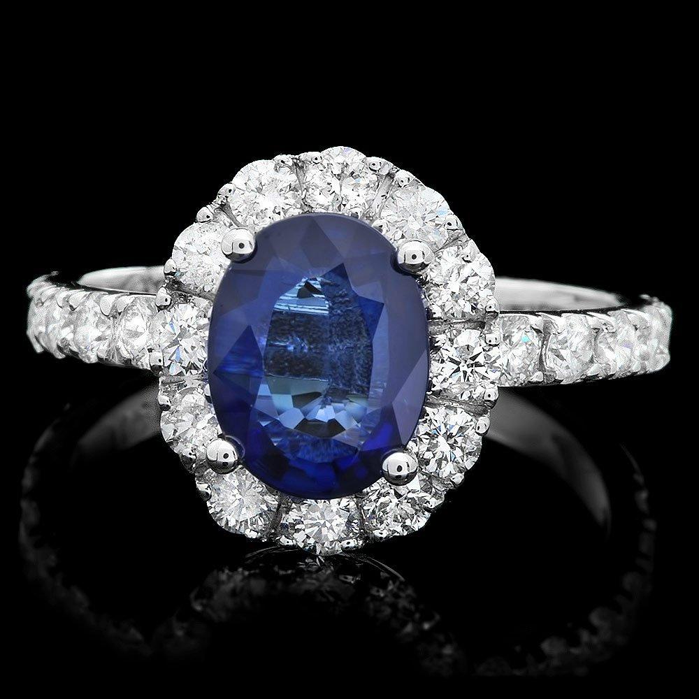 14k Gold 1.50ct Sapphire 1ct Diamond Ring