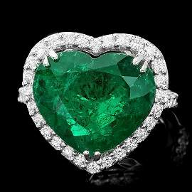 18k White Gold 7.50ct Emerald 0.85ct Diamond Ring