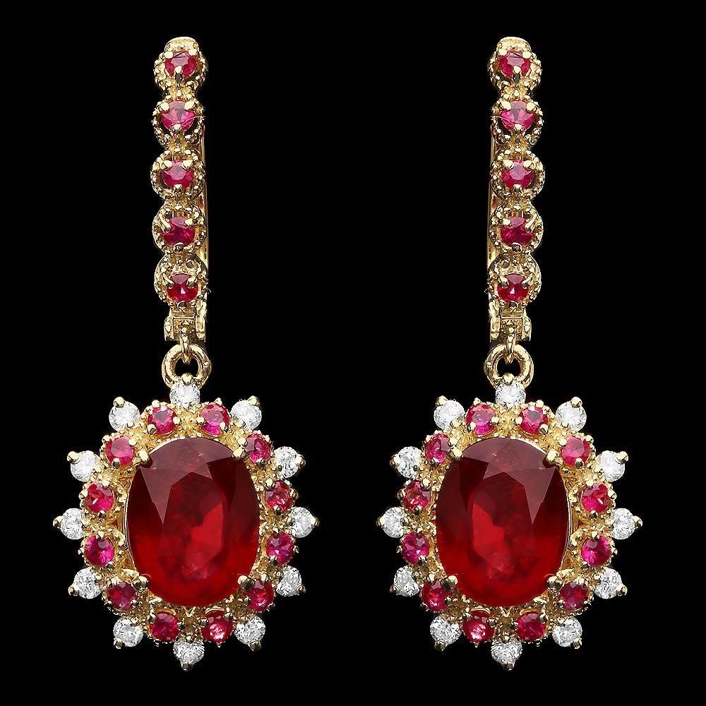 14k Gold 8.2ct Ruby 0.65ct Diamond Earrings