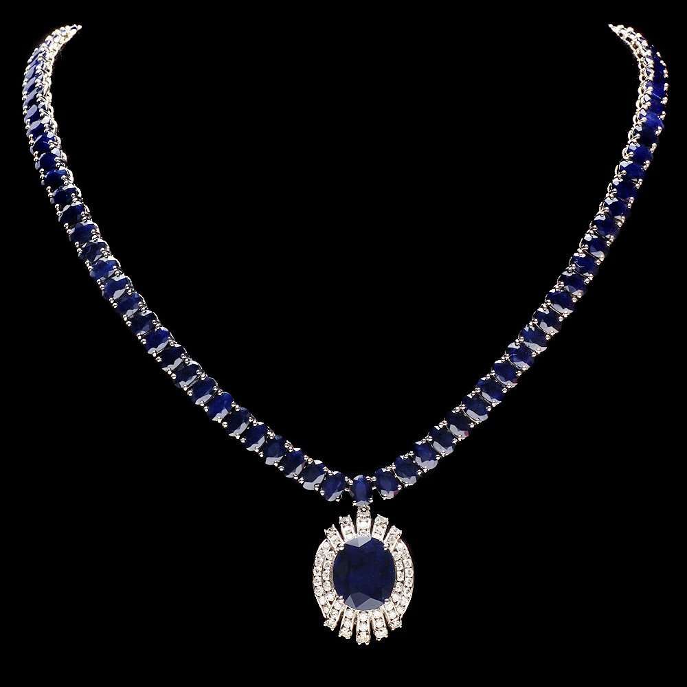14k Gold 58ct Sapphire 1.80ct Diamond Necklace