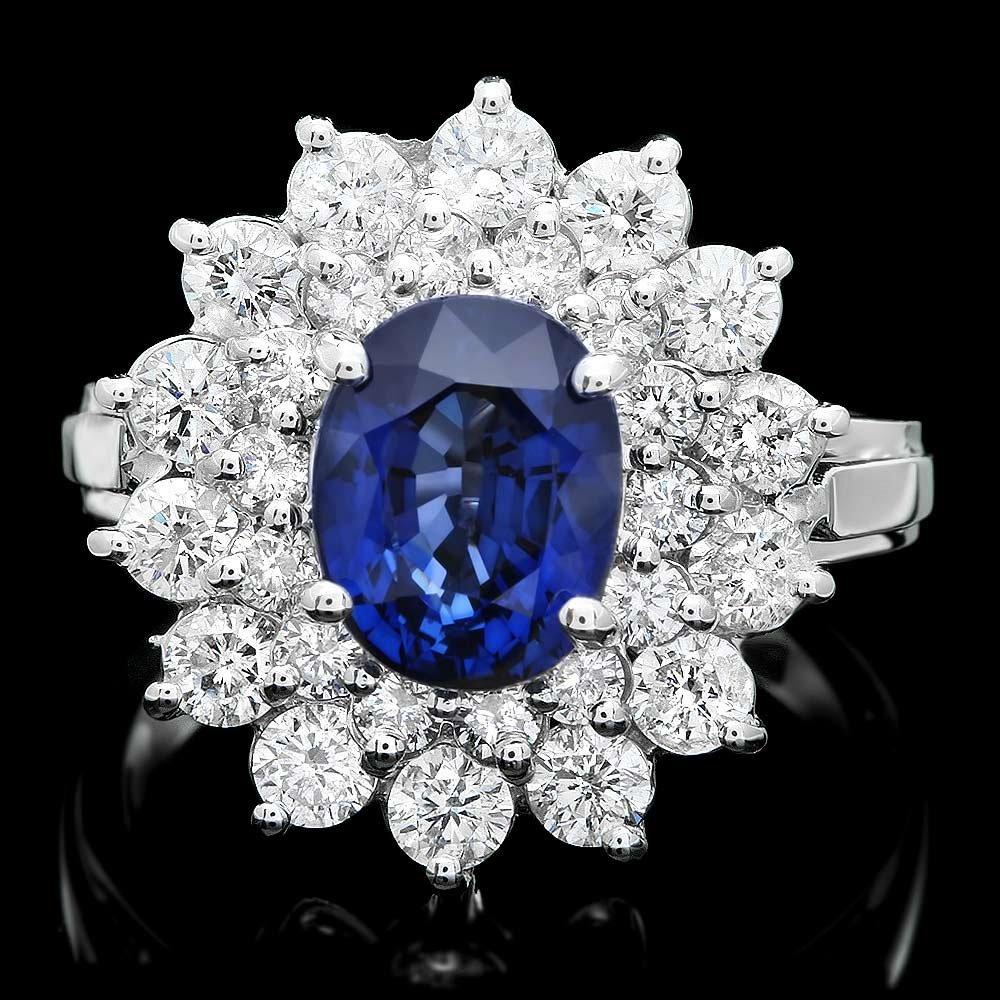 14k Gold 1.80ct Sapphire 1.40ct Diamond Ring
