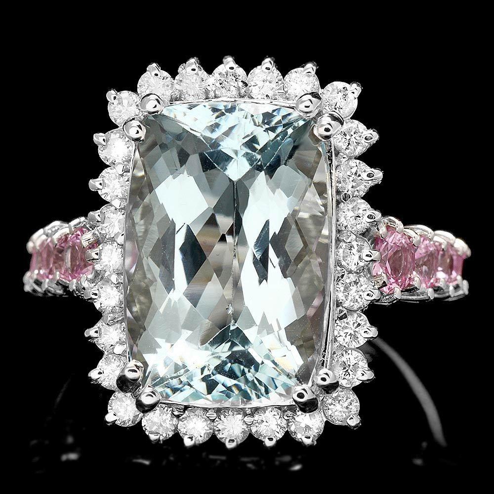 14k Gold 8ct Aquamarine 0.80ct Diamond Ring